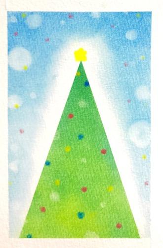 パステルアートで描く簡単なクリスマスツリーの描き方7