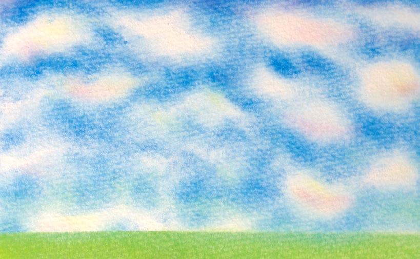 パステルアート作品見本雲と春の丘